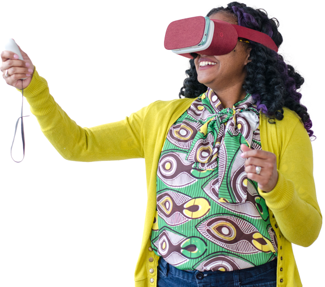 Happy person using VR cardboard.